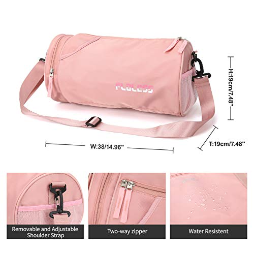 Small Sports Gym Bag for Women with Wet Pocket Waterproof, Workout Bags for Gym Women,Exercise Beach Yoga Dance Bag,Pink