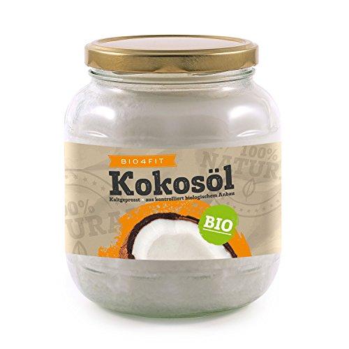 Bio4Fit Bio Kokosöl, nativ, kaltgepresst und naturrein (1 x 1000 ml) Glas