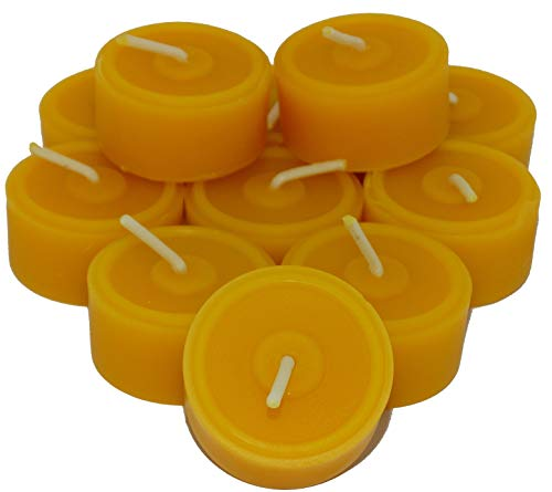Pack of 60 tea lights made from 100% beeswax, handmade directly from the beekeeper, economy pack, refill pack.