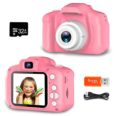 ZOULME Digital Camera for Kids, Best Birthday Gifts for Girls Age 3-9, HD Digital Video Cameras for Toddler,Portable Toy for 3 4 5 6 7 8 Year Old Girl with 32GB SD Card-Pink