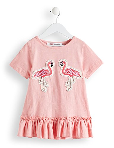 Amazon-Marke: RED WAGON Mädchen T-Shirt mit Flamingo-Motiv, Pink (Pink), 140, Label:10 Years