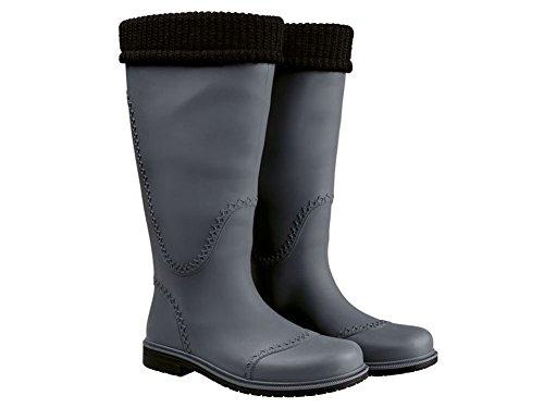 Damen modische Langschaftstiefel Regenstiefel Gummistiefel Stiefel Arbeitsstiefel grau/schwarz Gr....