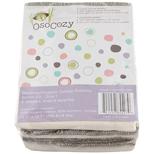 OsoCozy Bamboo Organic Prefolds Ultra Soft (Pack of), Size 1 (6 Count)