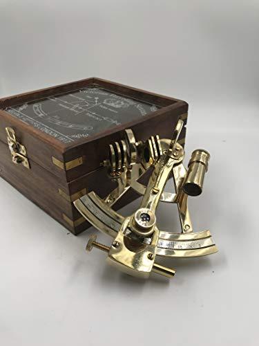 Malla Sextante marino de latón macizo con caja de madera | Sextante original | Sextante náutico