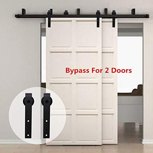 274cm(9FT) Kit de guía para puerta corredera Bypass Ferretería Polea de Rail suspendida sistema de puerta interiores en madera granero armario cuarto de, negro