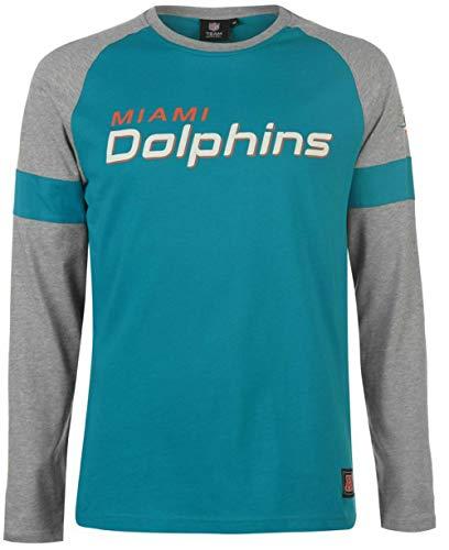 Majestic Miami Dolphins NFL Eldon - Camiseta de manga larga, Hombre, turquesa, medium