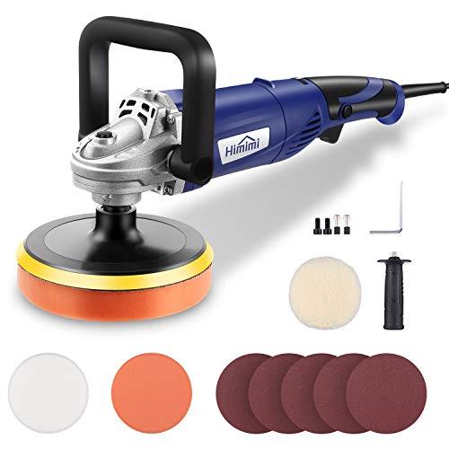 Himimi Poliermaschine, 1200W Polierer 6 Variable Geschwindigkeit,Austauschbare Schwammscheibe/Polierteller/Wollscheibe 150mm,D-Griff und Seitengriff, zum Polieren von Auto, Möbeln