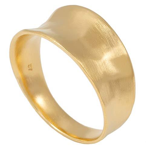 Pernille Corydon Damen Ring Gold Saga gehämmerte Oberfläche breiter Damenring mit Vertiefung Matt 925 Silber vergoldet - Größen 52 und 57 (55 (17.5))