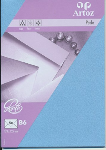 Artoz Papier AG - Kuvert B6 Perle 5er-Pack wasserblau