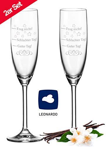 Leonardo Sektgläser im Set mit Gravur Schlechter Tag, Guter Tag - Frag nicht! - Stimmungsglas - Lustiges & Originelles Geschenk - Geeignet für Champagner & Sekt