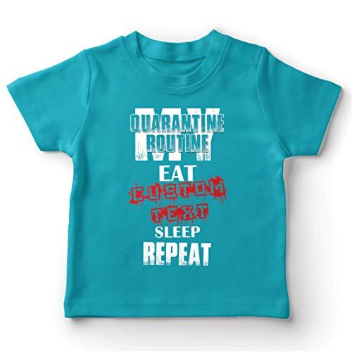 lepni.me Camiseta para Niño/Niña Mi Rutina de cuarentena Comer Texto Personalizado Repetir sueño (7-8 Years Azul Claro Multicolor)