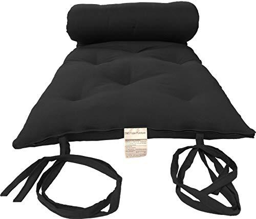 D&D Futon Furniture Queen Size Black Cotton/Foam/Polyester Traditional Japanese Floor Rolling Futon Mattresses, Yoga Meditation Mats, Beds 3 x 60 x 80