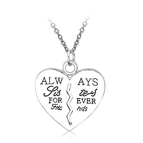 Ketting met hartvormige hanger met het opschrift - altijd zussenvriendjes - zussen voor altijd vrienden voor altijd - cadeau-idee always sisters forever friends