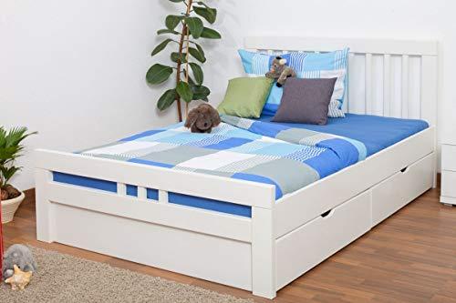 JugendbettEasy Premium Line K8 inkl. 2 Schubladen und 1 Abdeckblende, 140 x 200 cm Buche Vollholz massiv weiß lackiert