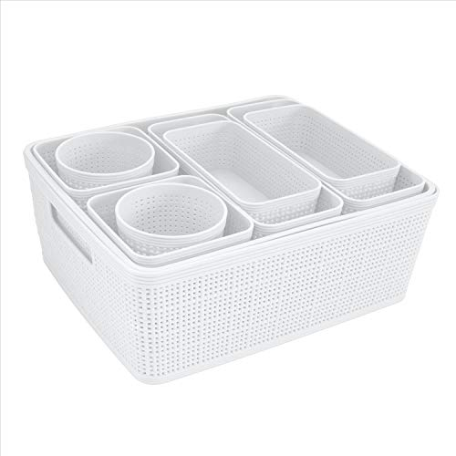 Simplify White 10 Pack Organizing Set Different Sizes for Multiple Needs for Offices Desks Dorms Small Items Accessories Vanity Bathrooms Storage Baskets Bins Boxes