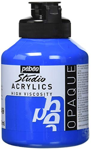 Pébéo - Acrylique Fine Studio Acrylics - Peinture Acrylique Cyan Primaire Opaque - Peinture Cyan Primaire Opaque 500 ml