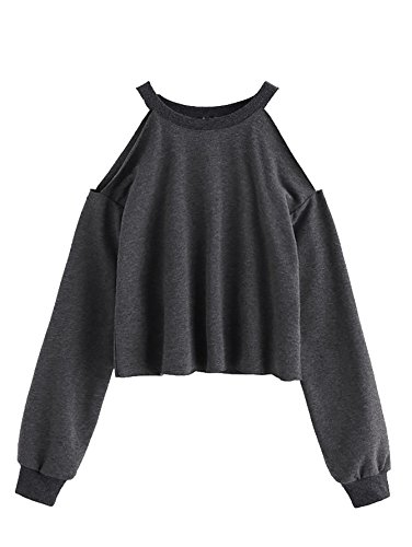 Romwe Womens Raw Hem Open Cold Shoulder Top Long Sleeve Heathered Pullover Tee Shirt Grey S