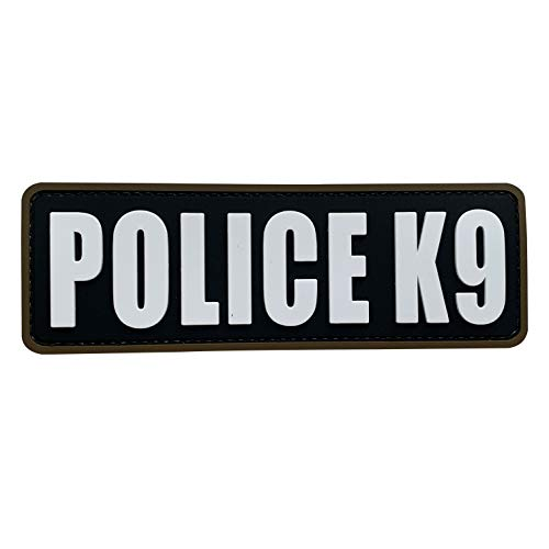 uuKen Police K9 Patch Black and White 2x6 inch PVC Patch for Service Dog in Training Working for Dog Harness Collar Vest (Black and White, M6'x2')