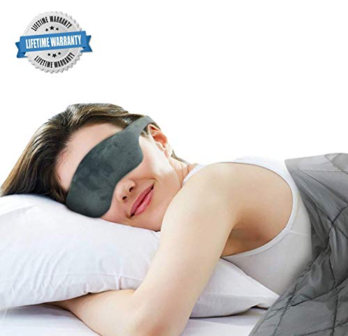 Advanced Weighted Sleep Mask with Adjustable Head Strap - Premium Double-Sided Light-Proof...