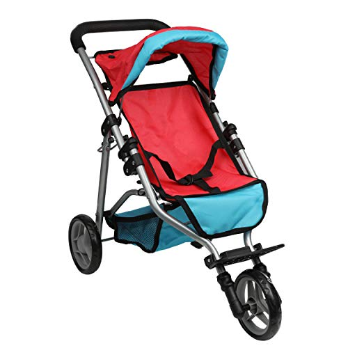 Mommy & Me Doll Jogger Foldable Baby Doll Stroller with Basket for Little Girls, Fits 18 Inch Doll, Red and Blue