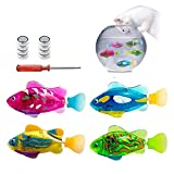 Swimming Robot Fish Activated in Water Electric Turbot Clownfish Battery Powered Fish Toy Children Kids Robotic Gift Light Transparent Electric Fish (4 Pcs)
