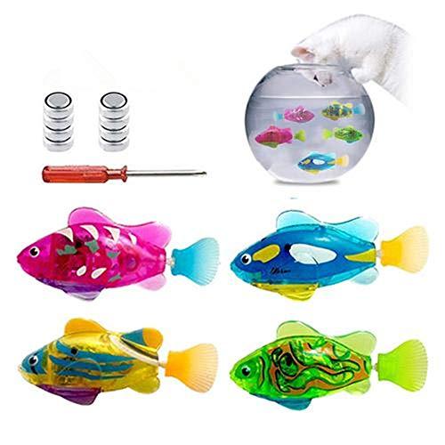 advancethy Robot de natación para peces activados en el agua, rodaballo eléctrico Pez payaso, funciona con pilas, juguete para niños robótico, regalo ligero, pescado eléctrico transparente (4 piezas)