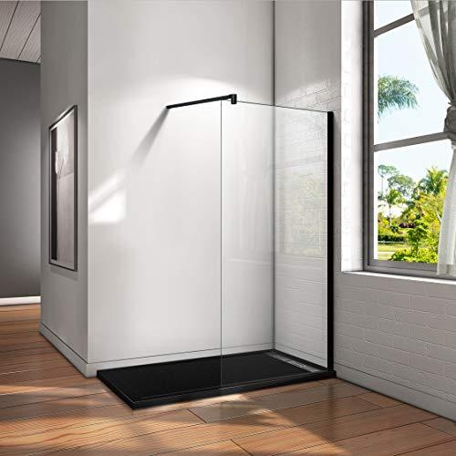 Mamparas de Ducha Pantalla Panel Fijo Perfil Negro Cristal Antical 8mm Barra 140cm - 50x200cm