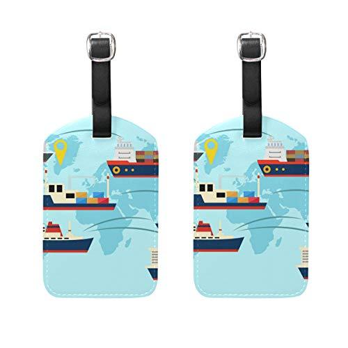 FANTAZIO Etiquetas de Viaje para Equipaje Crucero Viaje Todo el Mundo x2