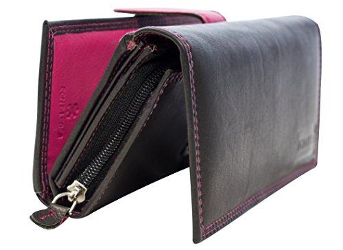 Zweifarbige Damen Ledergeldbörse 18cm Lang 29 Fächer Lederbörse Frauen Portemonnaie Echtleder Geldtasche Brieftasche Franko BB11 (Schwarz-Pink)
