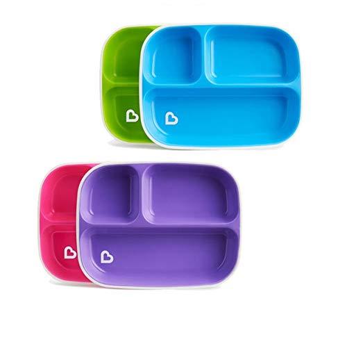 Munchkin Splash - Platos divididos con base antideslizante, sin BPA (2 unidades, los colores pueden variar)