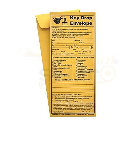 "500 Cashier Depot Night/ After Hours Key Drop Envelope For Auto Shop Repair or Service, 4 1/8"" x 9 1/2"", Peel & Seal (NEW), Open End, Premium 24LB Kraft, 500/Box"