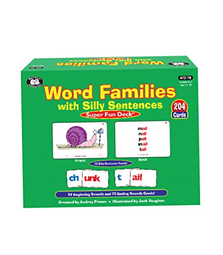 Super Duper Publications Word Families with Silly Sentences Fun Deck Flash Cards Educational Learning Resource for Children