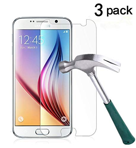 TANTEK Galaxy S6 Screen Protector, [Bubble-Free][HD-Clear][Anti-Scratch][Anti-Glare][Anti-Fingerprint] Premium Tempered Glass Screen Protector for Samsung Galaxy S6,-[3Pack]