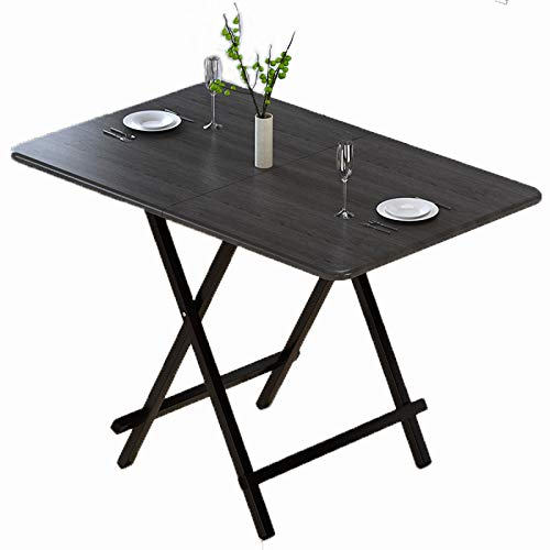 LSJZZ Folding Dining Table, Wooden Picnic Beer Table Computer Desk Portable Storage Square Table (Black) for Patio Outdoor Activities Garden Use