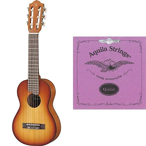 Yamaha GL-1 TBS Guitalele braun sunburst – Perfekter Hybrid aus Gitarre und Ukulele – Kleine 1/8 Reisegitarre aus Holz inkl. Gigbag & Aquila 96C Classical Guitar Guitalele/Guilele Komplett-Satz