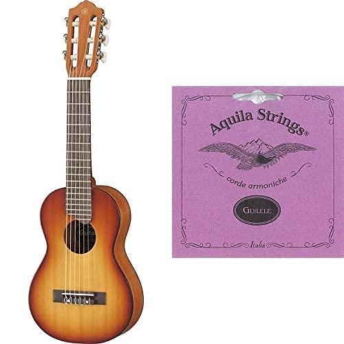 Yamaha Gl1 Guitalele - Mini Guitarra De Madera Con Las Dimensiones De Un Ukelele, Escala De 17 Pulgadas + Aquila 96C - Juego De Cuerdas Para Guitarra
