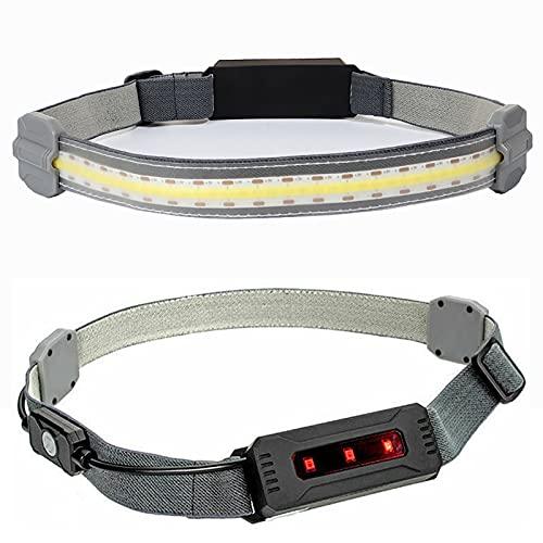 Linterna Frontal LED Perfil ultrabajo Diadema elástica Duradera 350 lúmenes Faro Fuerte Impermeable 3 Modos Carga USB para Correr, Caminar
