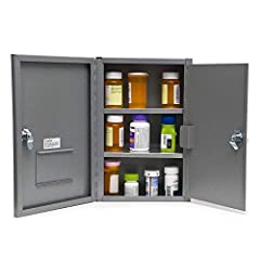 Intended for safe storage of narcotics, prescriptions, medicine, and other drugs Double door design provides an extra layer of security; each door has an individual keys and locks Keys cannot be removed when lock is in open position High quality weld...
