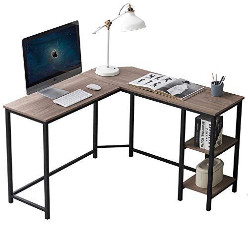 Small L Shaped Desk, Industrial Corner Computer Desk with Storage Shelves, Wood and Metal Home Office Desk for Workstation, 47 Inch Brown