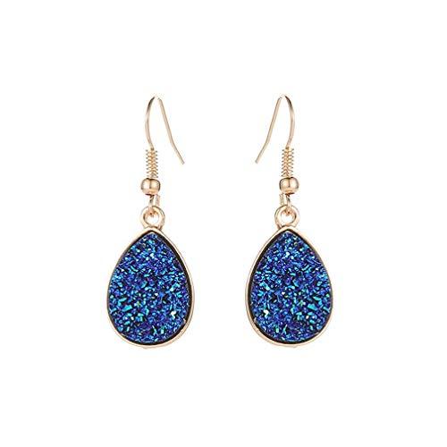 Pulabo - Pendientes de cristal sintético con forma de gota de temperatura y elegante regalo para mujeres y niñas, color azul marino