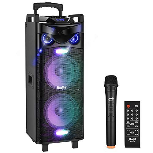 Moukey Karaoke Machine PA System,280W Bluetooth Karaoke Speaker System-PA Stereo with Double 10' Subwoofer,DJ Lights,Rechargeable Battery, VHF Microphone,Recording,MP3/USB/TF/FM Radio
