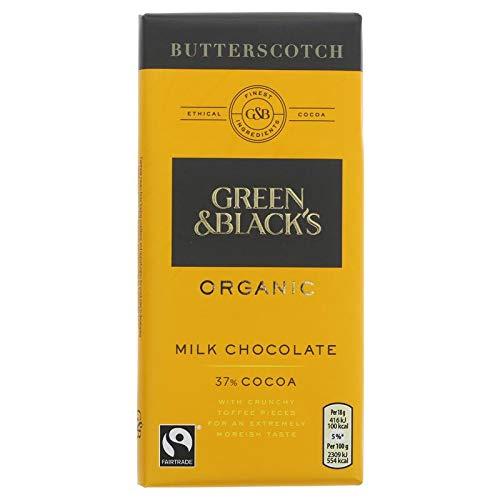 Green & BLACK'S Organic Milk Chocolate Butterscotch Bar 100g (Pack of 15)