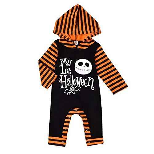T TALENTBABY Mono para bebé con capucha para Halloween, disfraz de cráneo con capucha rojo/negro 18-24 Meses
