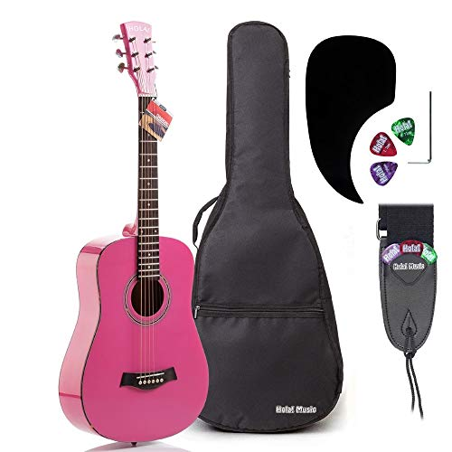 3/4 Size (36 Inch) Acoustic Guitar Bundle Junior/Travel Series by Hola! Music with D'Addario EXP16 Steel Strings, Padded Gig Bag, Guitar Strap and Picks, Model HG-36PK, Glossy Pink