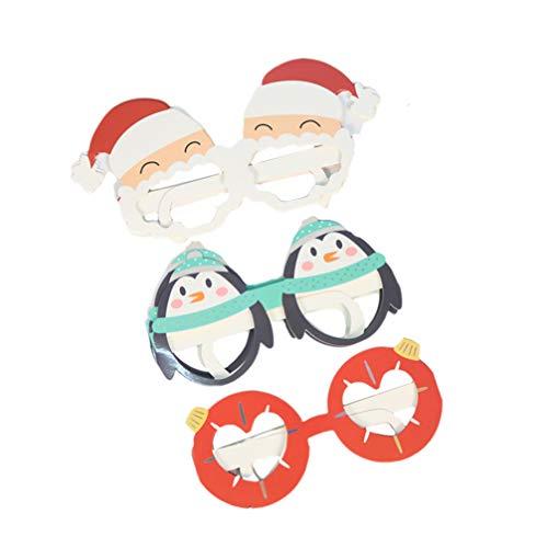 Amosfun 6pcs Weihnachts Gläser Papier Weihnachten lustige Brillen Sonnenbrillen für Kinder Weihnachten Urlaub Partei Kostüm Requisiten Bevorzugungen