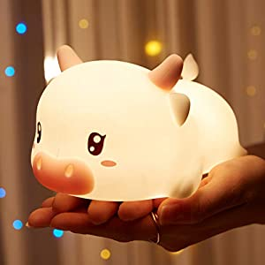 crib bedding and baby bedding cute baby night light for kids bedroom,kawaii calf lamp desk 7 color changing decor,anime stuff birthday/easter gifts for teens girl/friend,nursery remote portable chargeable squishy silicone lights
