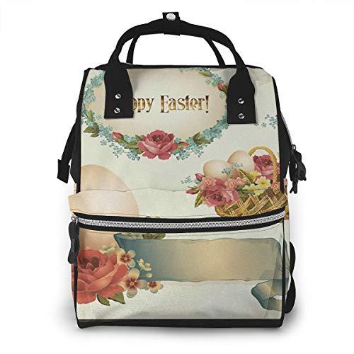 Baby Wickelrucksack Mit Blumen gefüllte Korbeier, Multifunktional Wickeltasche Reise Rucksack Große Kapazität Babytasche Mit Wickelunterlage, Passform für Kinderwage