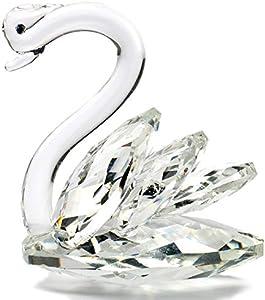 H&D HYALINE & DORA - Figura decorativa de cisne de cristal brillante para decoración de mesa de boda coleccionable