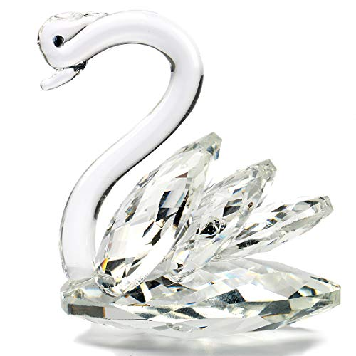 H&D HYALINE & DORA Cute Sparkle Crystal Swan Ornament Glass Animal Figurine Paperweight for Wedding Table Decoration Collectible