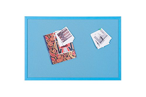 Bi-Office - Tablero de Anúncios de Corcho, Marco MDF, 60 x 40 cm, Azul